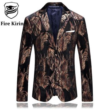 Blazer Men Slim Fit Brown Black Men Velvet Blazers Feather Pattern Stylish Blazers For Men Prom Suit