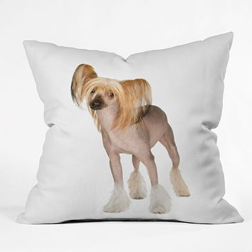 Susan Goddard Chinese Crested On White Throw Pillow
