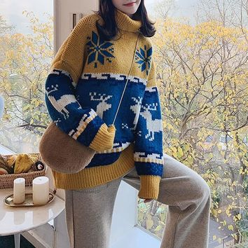 Turtleneck Colorblock Christmas Reindeer Sweater