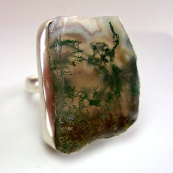 Natural Green Moss Agate Sterling Silver Ring, Slab Cut, Free Form, Vintage sz 6.75