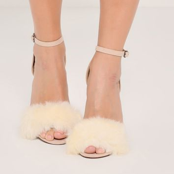 Missguided - Nude Fluffy Vamp Strap Barely There Heeled Sandals