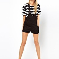 ASOS PETITE Exclusive Dungaree Playsuit With Deep V at asos.com
