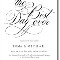 Best Day Ever Wedding Invitations
