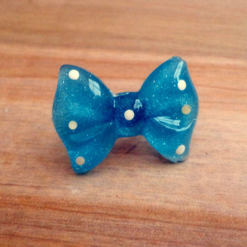 Handmade Polka Dot Bow Above the Knuckle / Adjustable Ring