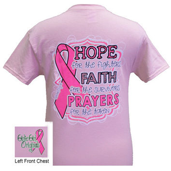 Girlie Girl Originals Cure Pink Ribbon Hope Faith Prayers Breast Cancer Pink Bright T Shirt