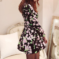 Black Floral Dress with Belt