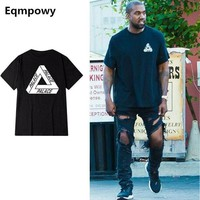 ONETOW Eqmpowy 2017 palace skateboards classic triangle print mens hip hop summer clothing gosha rubchinskiy cotton swag tshirt tee XXL