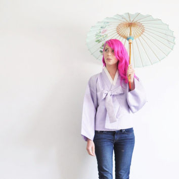 pastel purple kimono top . lilac far east asian jacket .medium.large