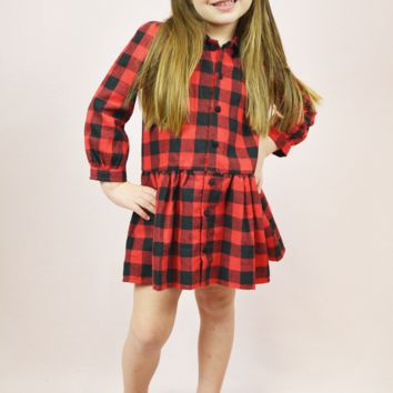 lil' belle buffalo checkered dress - black/red