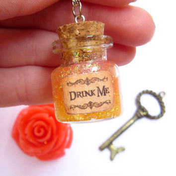 "Disney's Alice in Wonderland ""Drink Me"" mini bottle pendant necklace/ VIAL necklace orange glitter/ magic/ once upon a time/ fairy/ mini"