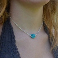 Silver Chain Turquoise Stone Chunk Choker Necklace