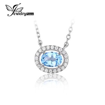 JewelryPalace Round 1ct Natural Blue Topaz 925 Sterling Silver Solitaire Pendant Necklace 45cm Box Chain  Fine Jewelry for Women