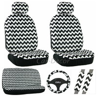 Chevron White Black Seat Cover 11 Pc Set