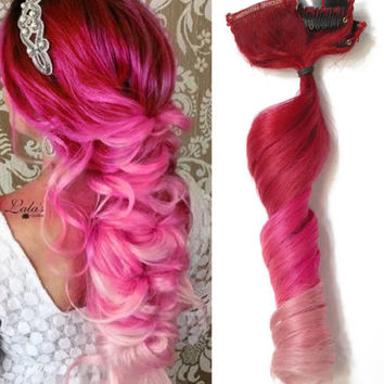 """14"""" - 26"""" Red Pink Light Pink 100% Human Hair Clip In Remy Extensions Ombre Dip"""