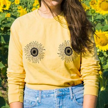 Sunflower Boobs Long Sleeve Tee