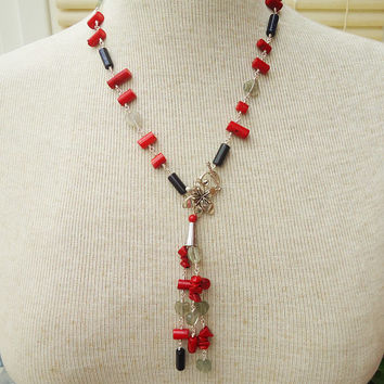 Coral, Goldsand and Fluorite Necklace, Lariat Necklace, Blue and Red Necklace, Red Coral and Blue Goldsand Necklace