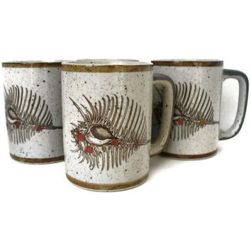 Vintage Coffee Mug Set of 4 Stoneware Mugs by TheRetroStudio