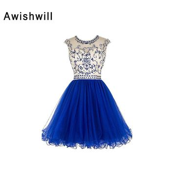 Vestido de Festa Curto New Arrival Cap Sleeve Beadings Tulle Backless Short Prom Dress Cocktail Homecoming Dresses 2018