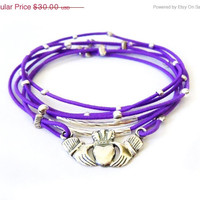 Cyber Monday Sale Claddagh Bracelet Set (Purple and Sterling Silver)