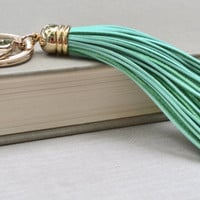 Leather Tassle Keychain Mint and Gold Key Chain Mint Leather Tassle Gold Key Ring Modern Key Chain Gift Under 20 Boho Keychain