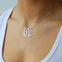 FREE SHIPPING USA Monogram necklace - 925 Sterling Silver Monogram Necklace - 1.25 inch - %100 Handmade