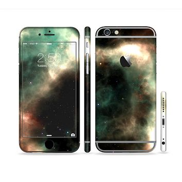 The Dark Green Glowing Universe Sectioned Skin Series for the Apple iPhone 6