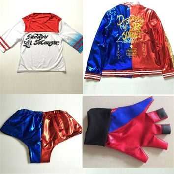 halloween costumes for women  harley quinn costume suicide squad set kids plus size sexy cosplay jacket shorts for girls