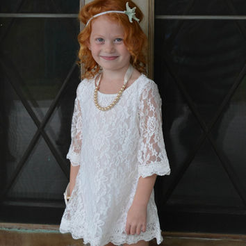 Holiday Special Set -The Autumn Lace Flower Girl Dress and Pearl Bracelet for toddlers & girls sizes 1T,2T,3T,4T,5T,6,7/8,9/10,11/12,13/14
