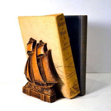 Vintage Syroco Ship Bookends Nautical Study Decor Bookshelf Display