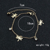 Sexy Women Gold Chain Link Dragonfly Ankle Anklet Bracelet Barefoot S al Beach Foot Jewelry For  SM6