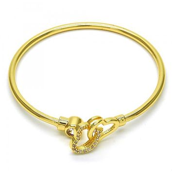 Gold Layered 07.233.0005 Individual Bangle, Heart Design, with White Cubic Zirconia, Polished Finish, Golden Tone (03 MM Thickness, One size fits all)