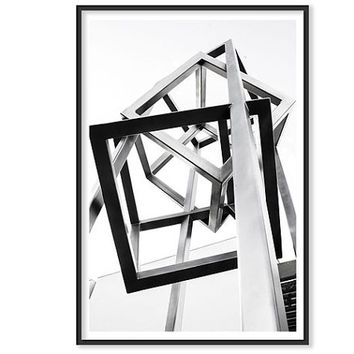 Geometric Decor Modern Photography Geometric art Back and white Print Urban art sculpture Minimalistic Art structure steel building city Art