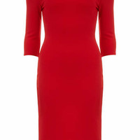 Jolie Moi Red 3/4 Sleeve Bardot Dress