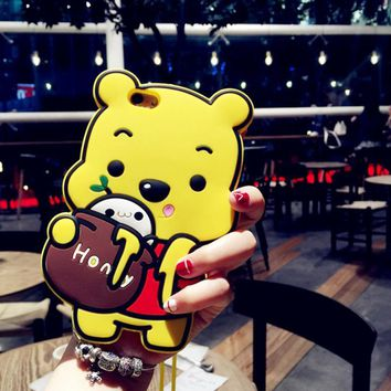 Lovely silicone bear mobile phone case for iPhone X 7 7plus 8 8plus iPhone6 6s plus -171123