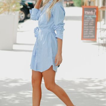 Striped Button Up Dress Dark Blue/ White