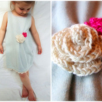 Cashmere Children's Dress Crochet Roses Reversible by KingSoleil