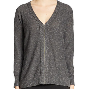 Eileen Fisher Organic Linen And Cotton Zip-Front Sweater