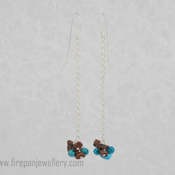 Turquoise + jasper bauble earrings, sterling silver chain, gemstone, blue, brown, dangle, long earrings, handmade, fun, flirty, gift for her