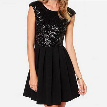 Hot Shining Sequins Stitching Dress Backless Dress