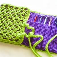 Crochet Hook Organizer - Crochet Hooks Available - Lime and Grape Travel Case - Green and Purple Art Pencil Storage
