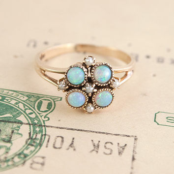Opal and Pearl Cluster Ring | Erica Weiner