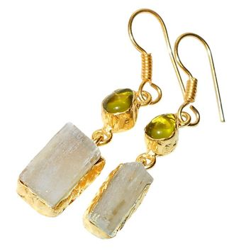 Gold-plated Fluorite & Glass Earrings
