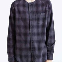 Your Neighbors Alro Collarless Plaid Button-Down Shirt- Black