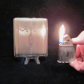 Vintage Cigarette Case Cigarette Lighter Evans Cigarette Case 1940s Silver Cigarette Case Business Card Case Working Lighter