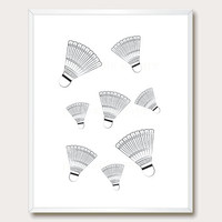 Printable Wall Art. black and white wall art. modern print. illustration. badminton birdie. sport. wall poster. instant download