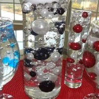 Unique Red & White Pearl Beads Including Clear Water Pearls. Great for Wedding Centerpieces and Deco