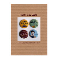 "Freaks and Geeks 1"" buttons - Set of 4 - Magnet or pins"