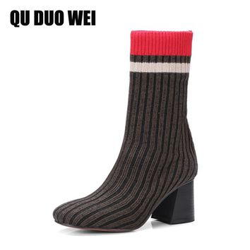 QUDUOWEI 2018 Fashion Knitted Women Ankle Boots Elastic Slim Autumn Winter Warm Long Thigh High Heel Sock Boots For Woman Shoes