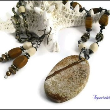 23 inch Natural Stone Pendant Wooden Bead Necklace and Earring Set | specialtivity - Jewelry on ArtFire