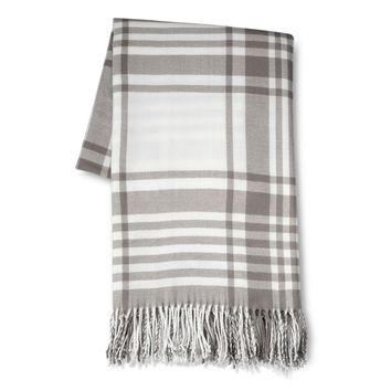 Threshold™ Oversized Plaid Throw Gray : Target